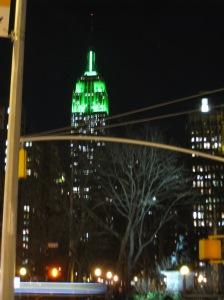 Empire Estat Building in green